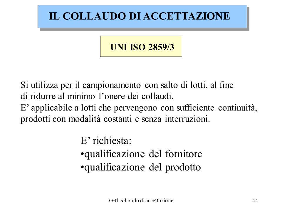 G-Il collaudo di accettazione44 UNI ISO 2859/3 Si utilizza per il campionamento con salto di lotti, al fine di ridurre al minimo lonere dei collaudi.