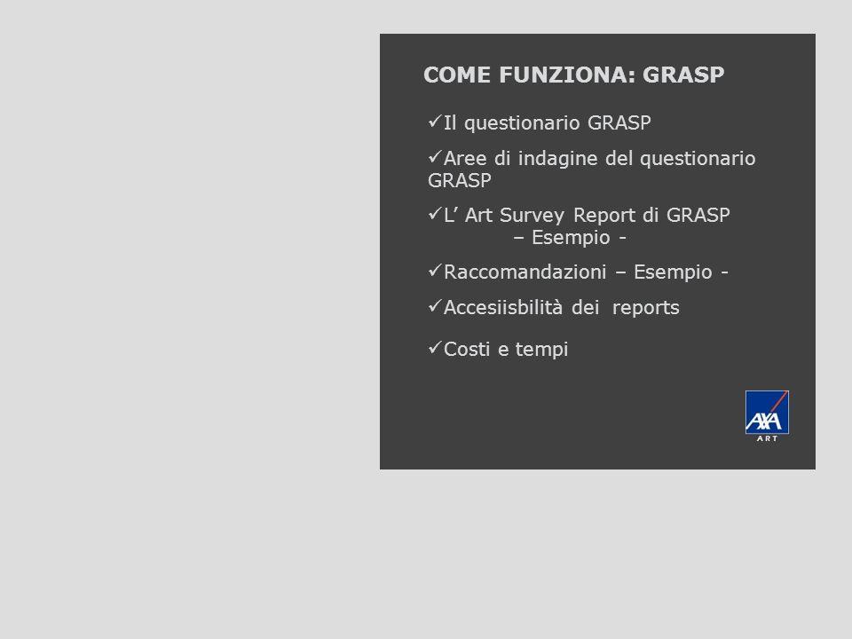 AXA Art GRASP COME FUNZIONA: GRASP Il questionario GRASP Aree di indagine del questionario GRASP L Art Survey Report di GRASP – Esempio - Raccomandazi