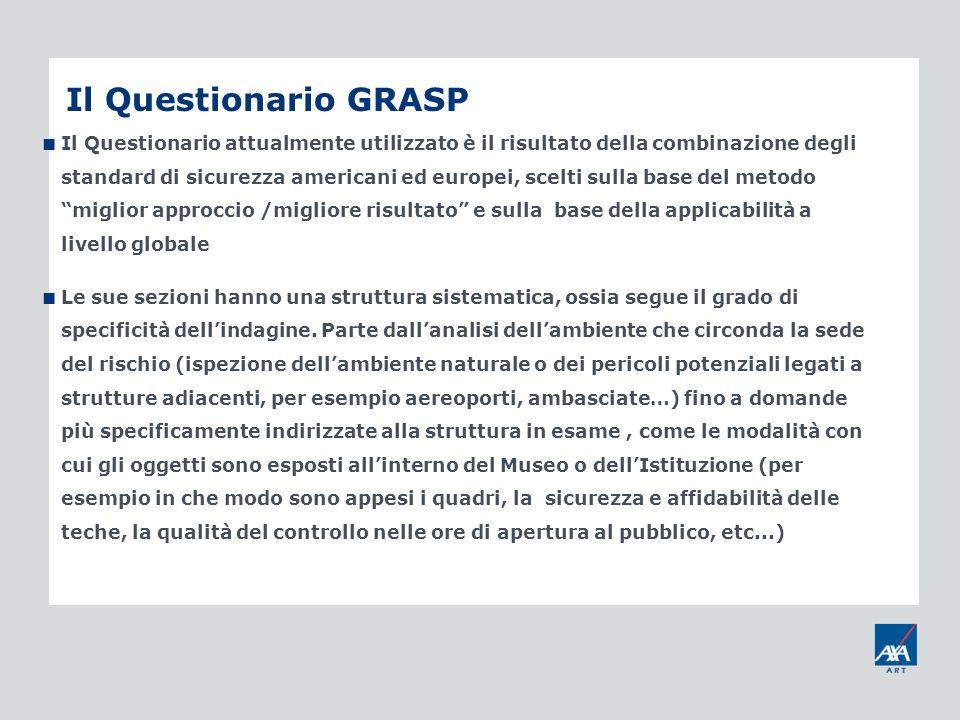 Il Questionario GRASP Il Questionario attualmente utilizzato è il risultato della combinazione degli standard di sicurezza americani ed europei, scelt