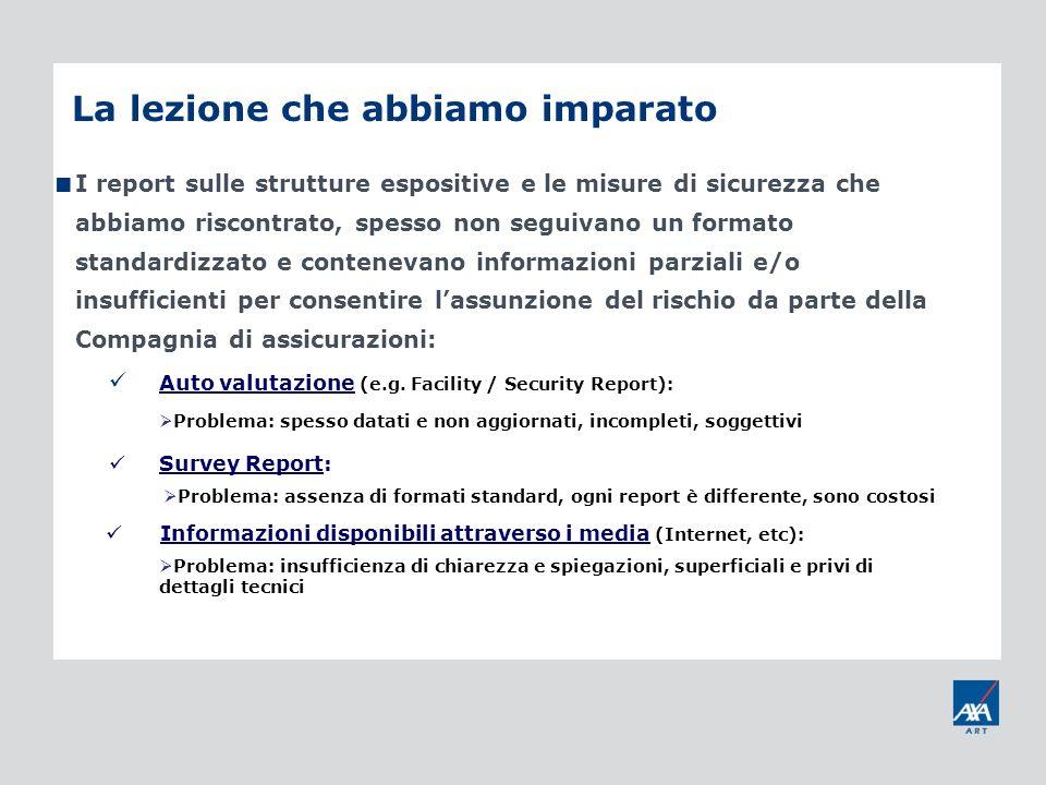 La lezione che abbiamo imparato I report sulle strutture espositive e le misure di sicurezza che abbiamo riscontrato, spesso non seguivano un formato