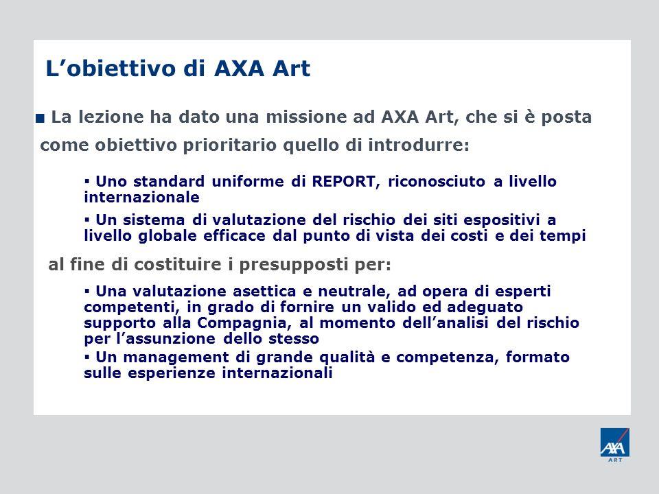 Lobiettivo di AXA Art La lezione ha dato una missione ad AXA Art, che si è posta come obiettivo prioritario quello di introdurre: Uno standard uniform