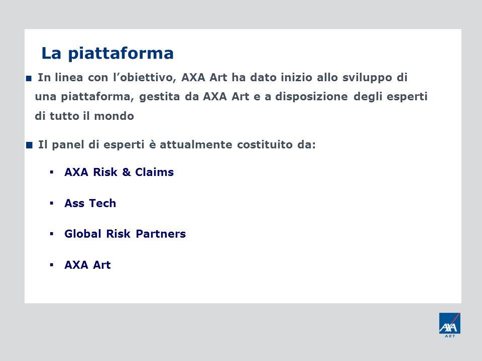 La piattaforma In linea con lobiettivo, AXA Art ha dato inizio allo sviluppo di una piattaforma, gestita da AXA Art e a disposizione degli esperti di