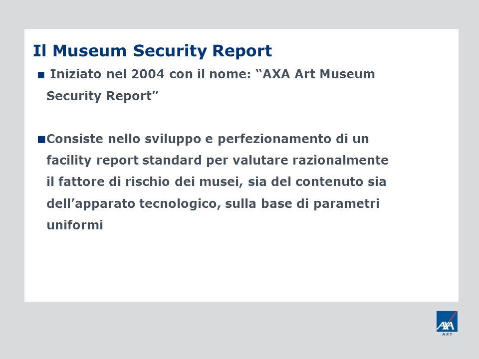 Il Museum Security Report Iniziato nel 2004 con il nome: AXA Art Museum Security Report Consiste nello sviluppo e perfezionamento di un facility repor