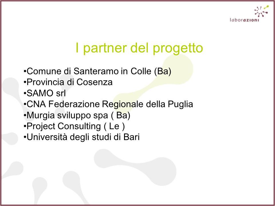 I partner del progetto Comune di Santeramo in Colle (Ba) Provincia di Cosenza SAMO srl CNA Federazione Regionale della Puglia Murgia sviluppo spa ( Ba) Project Consulting ( Le ) Università degli studi di Bari