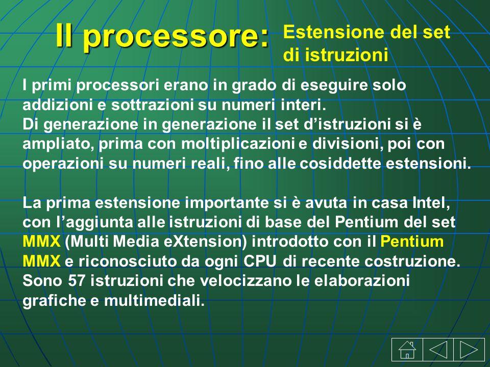 Il processore: I primi processori erano in grado di eseguire solo addizioni e sottrazioni su numeri interi.