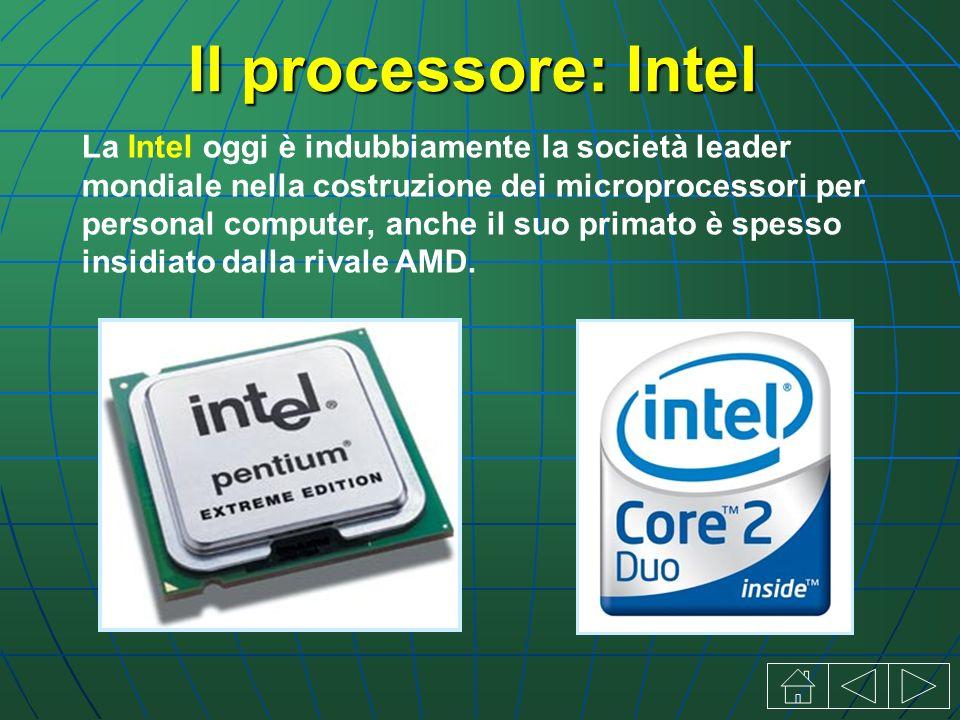 Il processore: Intel La Intel oggi è indubbiamente la società leader mondiale nella costruzione dei microprocessori per personal computer, anche il suo primato è spesso insidiato dalla rivale AMD.