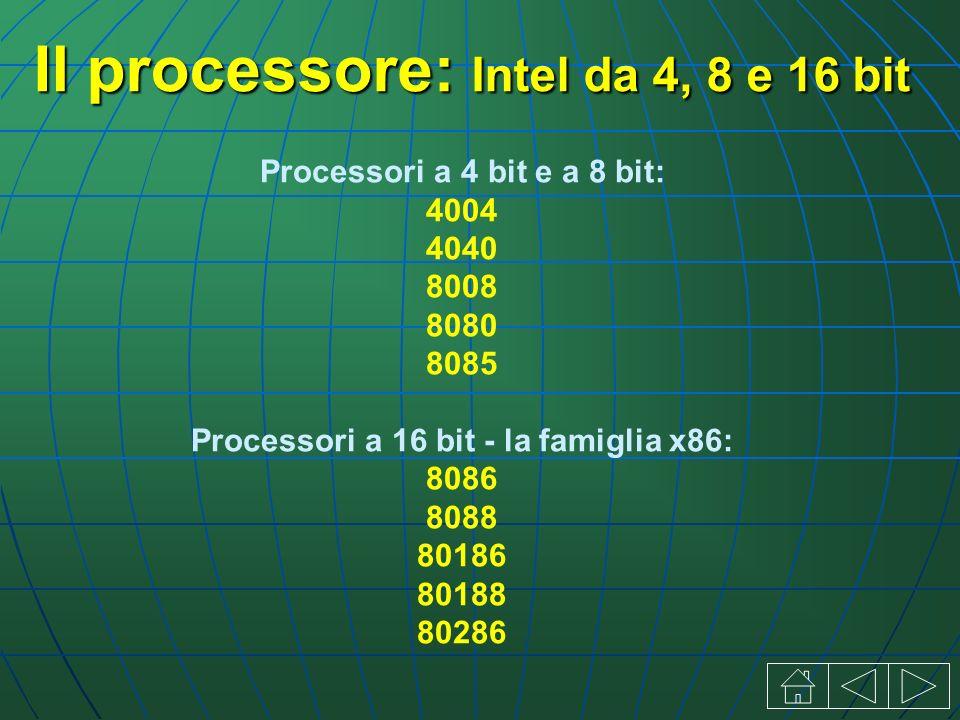 Il processore: Intel da 4, 8 e 16 bit Processori a 4 bit e a 8 bit: 4004 4040 8008 8080 8085 Processori a 16 bit - la famiglia x86: 8086 8088 80186 80188 80286