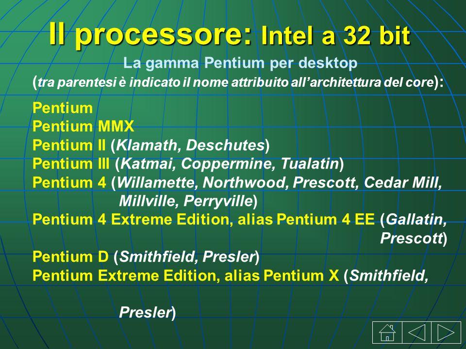 La gamma Pentium per desktop ( tra parentesi è indicato il nome attribuito allarchitettura del core ): Pentium Pentium MMX Pentium II (Klamath, Deschutes) Pentium III (Katmai, Coppermine, Tualatin) Pentium 4 (Willamette, Northwood, Prescott, Cedar Mill, Millville, Perryville) Pentium 4 Extreme Edition, alias Pentium 4 EE (Gallatin, Prescott) Pentium D (Smithfield, Presler) Pentium Extreme Edition, alias Pentium X (Smithfield, Presler) Il processore: Intel a 32 bit