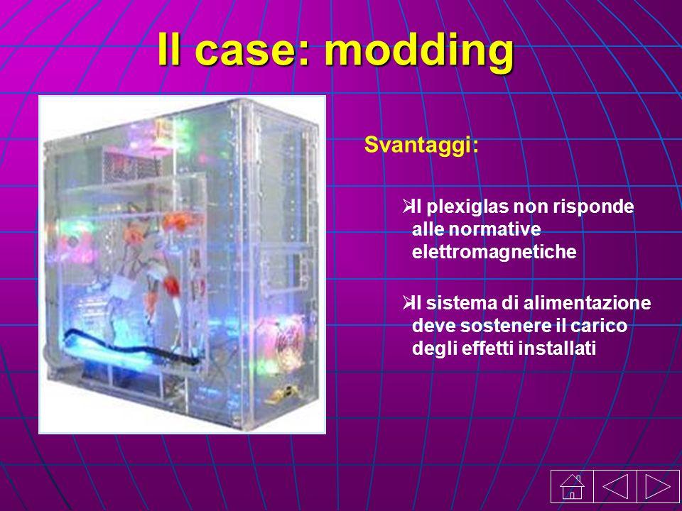 Il sistema di alimentazione deve sostenere il carico degli effetti installati Il case: modding Svantaggi: Il plexiglas non risponde alle normative elettromagnetiche
