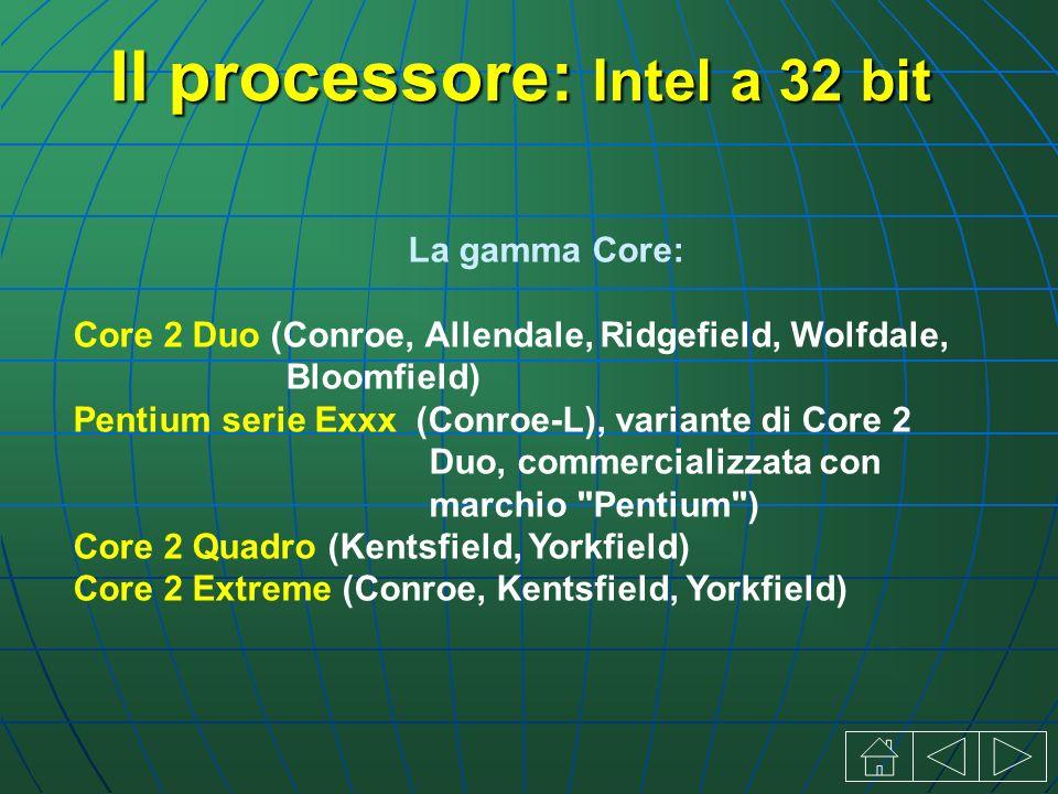 La gamma Core: Core 2 Duo (Conroe, Allendale, Ridgefield, Wolfdale, Bloomfield) Pentium serie Exxx (Conroe-L), variante di Core 2 Duo, commercializzata con marchio Pentium ) Core 2 Quadro (Kentsfield, Yorkfield) Core 2 Extreme (Conroe, Kentsfield, Yorkfield)