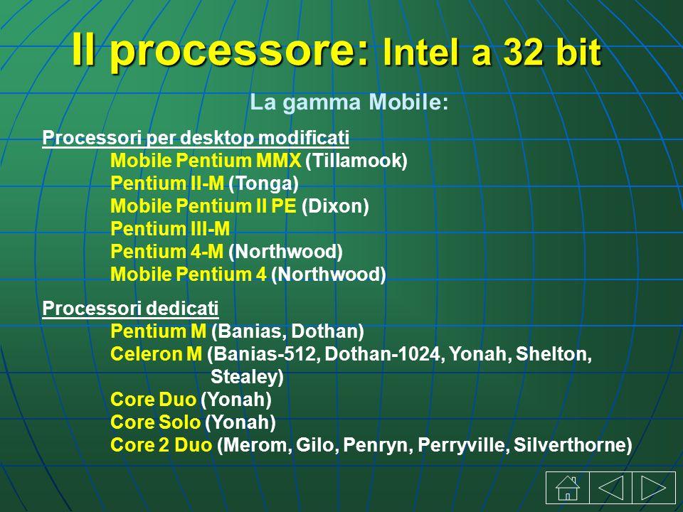 La gamma Mobile: Processori per desktop modificati Mobile Pentium MMX (Tillamook) Pentium II-M (Tonga) Mobile Pentium II PE (Dixon) Pentium III-M Pentium 4-M (Northwood) Mobile Pentium 4 (Northwood) Processori dedicati Pentium M (Banias, Dothan) Celeron M (Banias-512, Dothan-1024, Yonah, Shelton, Stealey) Core Duo (Yonah) Core Solo (Yonah) Core 2 Duo (Merom, Gilo, Penryn, Perryville, Silverthorne) Il processore: Intel a 32 bit