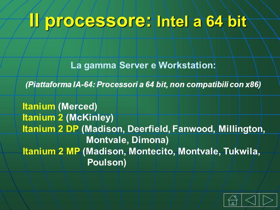 Il processore: Intel a 64 bit La gamma Server e Workstation: (Piattaforma IA-64: Processori a 64 bit, non compatibili con x86) Itanium (Merced) Itanium 2 (McKinley) Itanium 2 DP (Madison, Deerfield, Fanwood, Millington, Montvale, Dimona) Itanium 2 MP (Madison, Montecito, Montvale, Tukwila, Poulson)