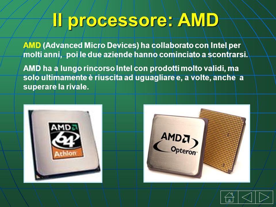 Il processore: AMD AMD (Advanced Micro Devices) ha collaborato con Intel per molti anni, poi le due aziende hanno cominciato a scontrarsi.