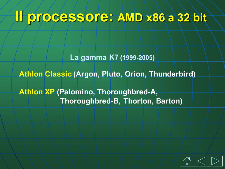 Il processore: AMD x86 a 32 bit La gamma K7 (1999-2005) Athlon Classic (Argon, Pluto, Orion, Thunderbird) Athlon XP (Palomino, Thoroughbred-A, Thoroug