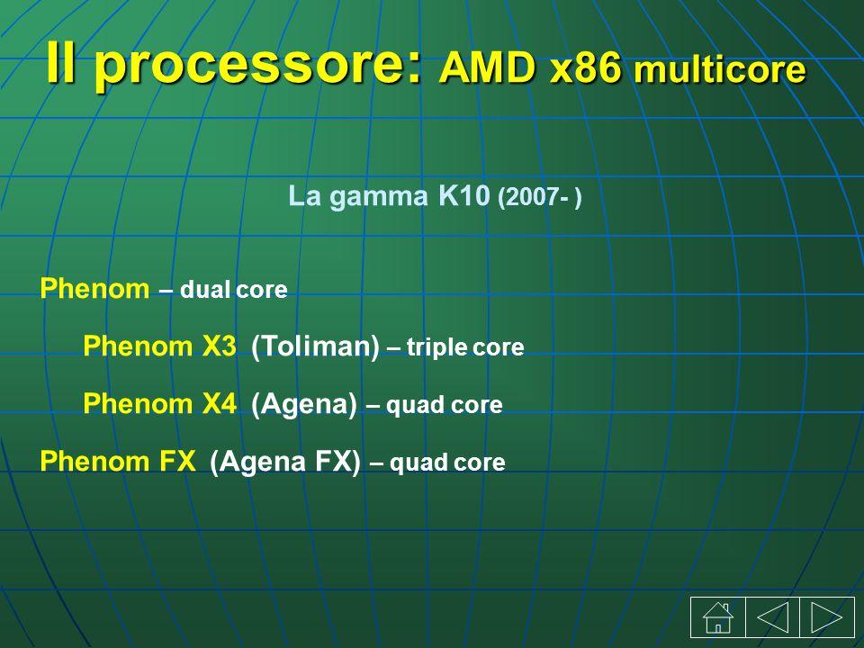 Il processore: AMD x86 multicore La gamma K10 (2007- ) Phenom – dual core Phenom X3 (Toliman) – triple core Phenom X4 (Agena) – quad core Phenom FX (Agena FX) – quad core