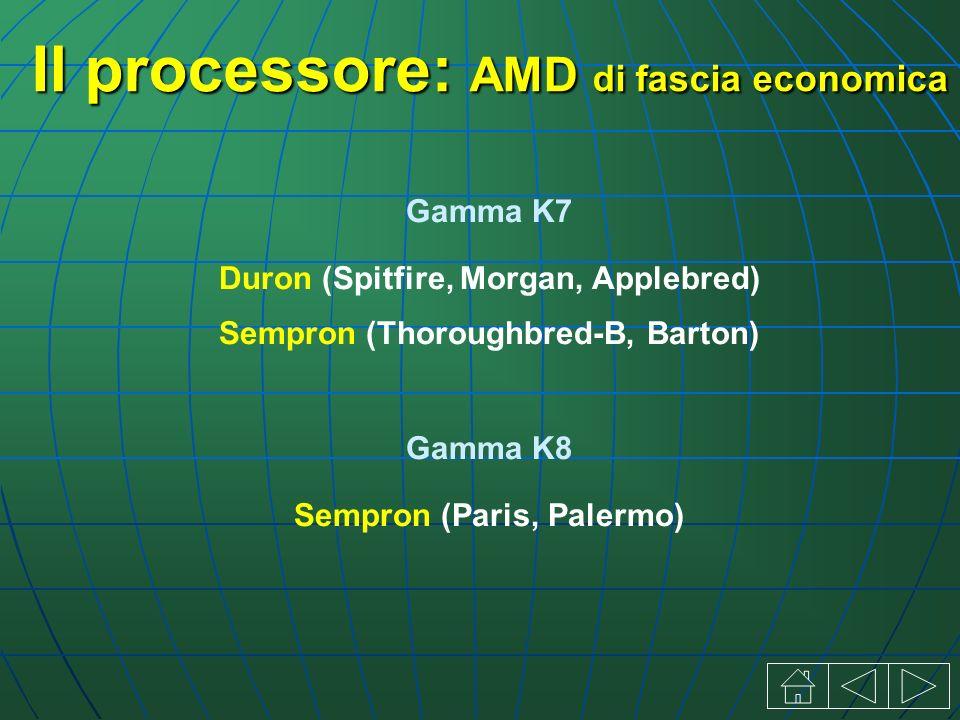 Il processore: AMD di fascia economica Gamma K7 Duron (Spitfire, Morgan, Applebred) Sempron (Thoroughbred-B, Barton) Gamma K8 Sempron (Paris, Palermo)
