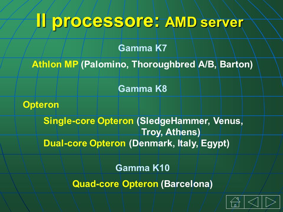 Il processore: AMD server Gamma K7 Athlon MP (Palomino, Thoroughbred A/B, Barton) Gamma K8 Opteron Single-core Opteron (SledgeHammer, Venus, Troy, Ath