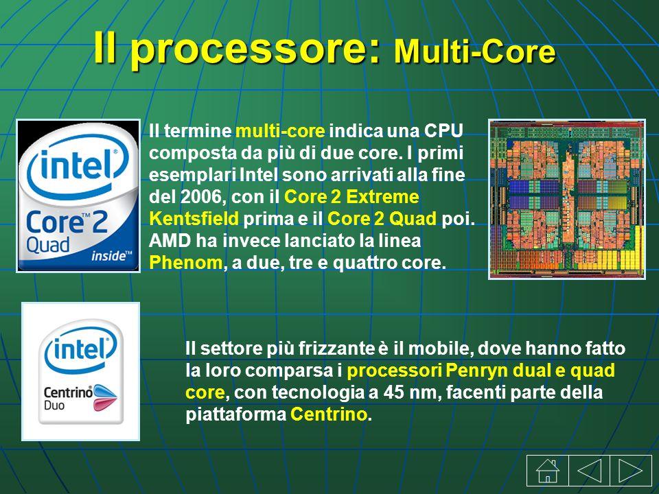 Il processore: Multi-Core Il settore più frizzante è il mobile, dove hanno fatto la loro comparsa i processori Penryn dual e quad core, con tecnologia a 45 nm, facenti parte della piattaforma Centrino.