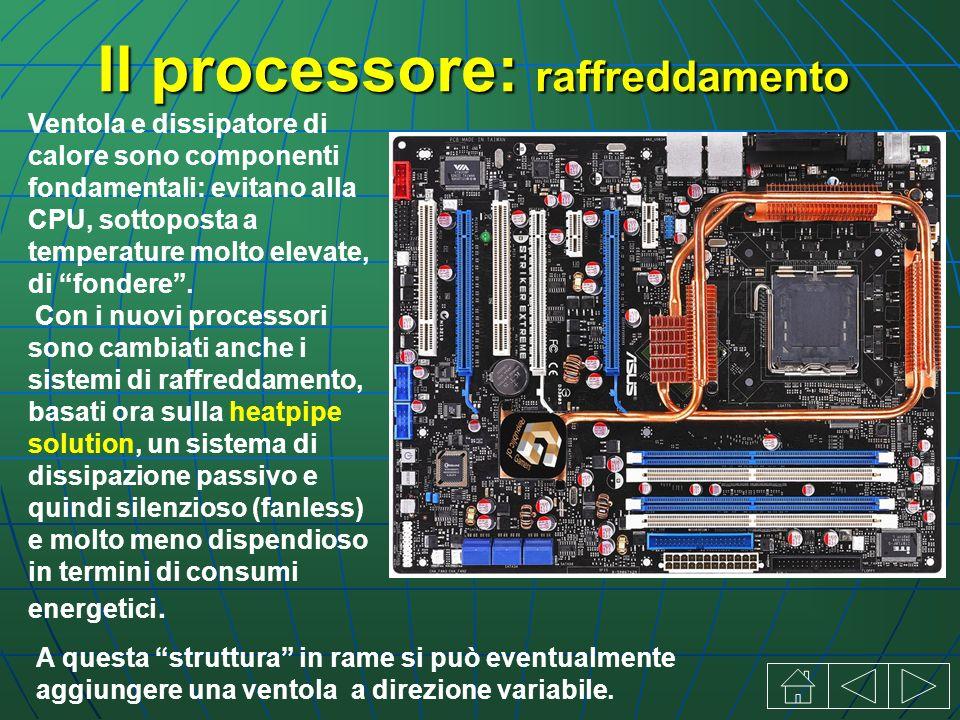 Il processore: raffreddamento Ventola e dissipatore di calore sono componenti fondamentali: evitano alla CPU, sottoposta a temperature molto elevate, di fondere.