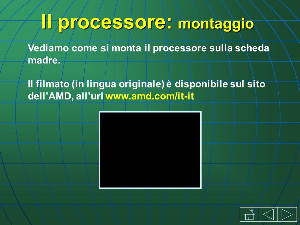 Il processore: montaggio Vediamo come si monta il processore sulla scheda madre.