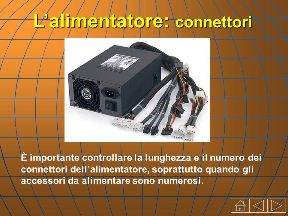 È importante controllare la lunghezza e il numero dei connettori dellalimentatore, soprattutto quando gli accessori da alimentare sono numerosi.