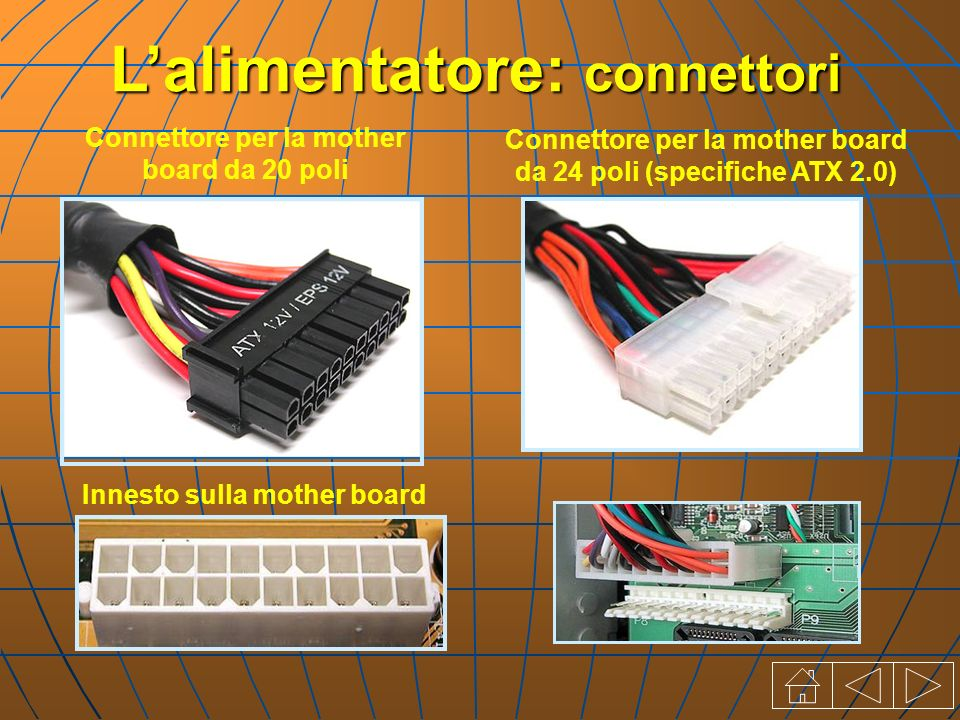 Connettore per la mother board da 20 poli Lalimentatore: connettori Connettore per la mother board da 24 poli (specifiche ATX 2.0) Innesto sulla mothe