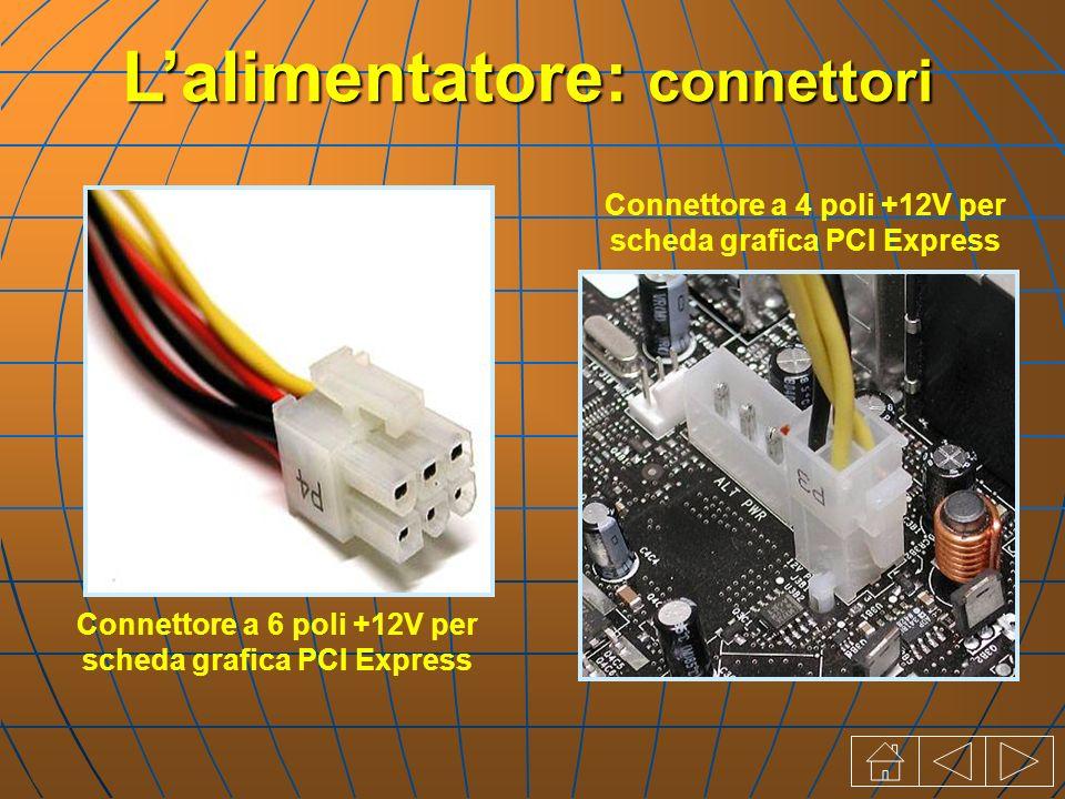 Connettore a 6 poli +12V per scheda grafica PCI Express Connettore a 4 poli +12V per scheda grafica PCI Express