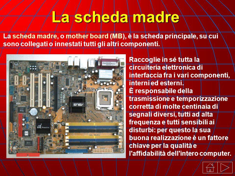 La scheda madre, o mother board (MB), è la scheda principale, su cui sono collegati o innestati tutti gli altri componenti.