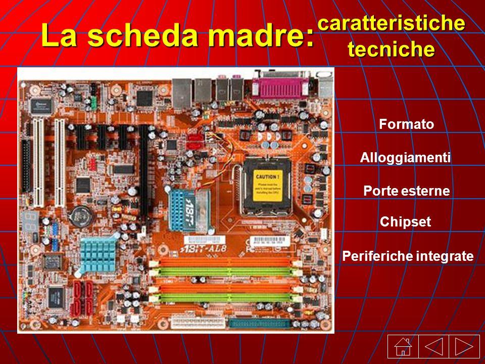 La scheda madre: Alloggiamenti Formato Porte esterne Chipset Periferiche integrate caratteristiche tecniche