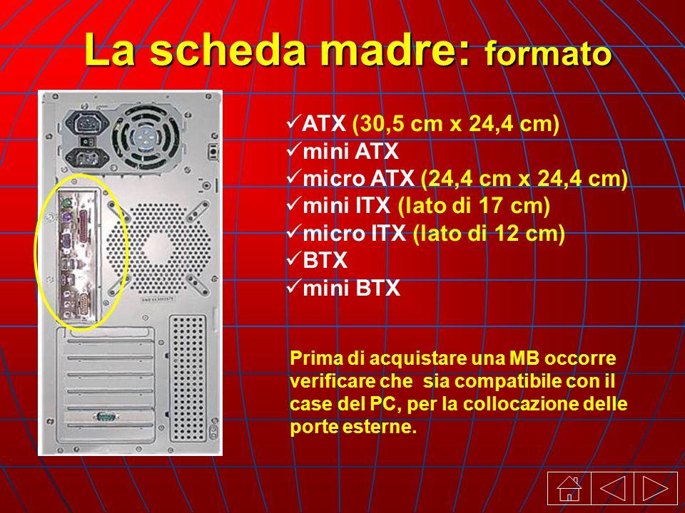 ATX (30,5 cm x 24,4 cm) mini ATX micro ATX (24,4 cm x 24,4 cm) mini ITX (lato di 17 cm) micro ITX (lato di 12 cm) BTX mini BTX Prima di acquistare una MB occorre verificare che sia compatibile con il case del PC, per la collocazione delle porte esterne.