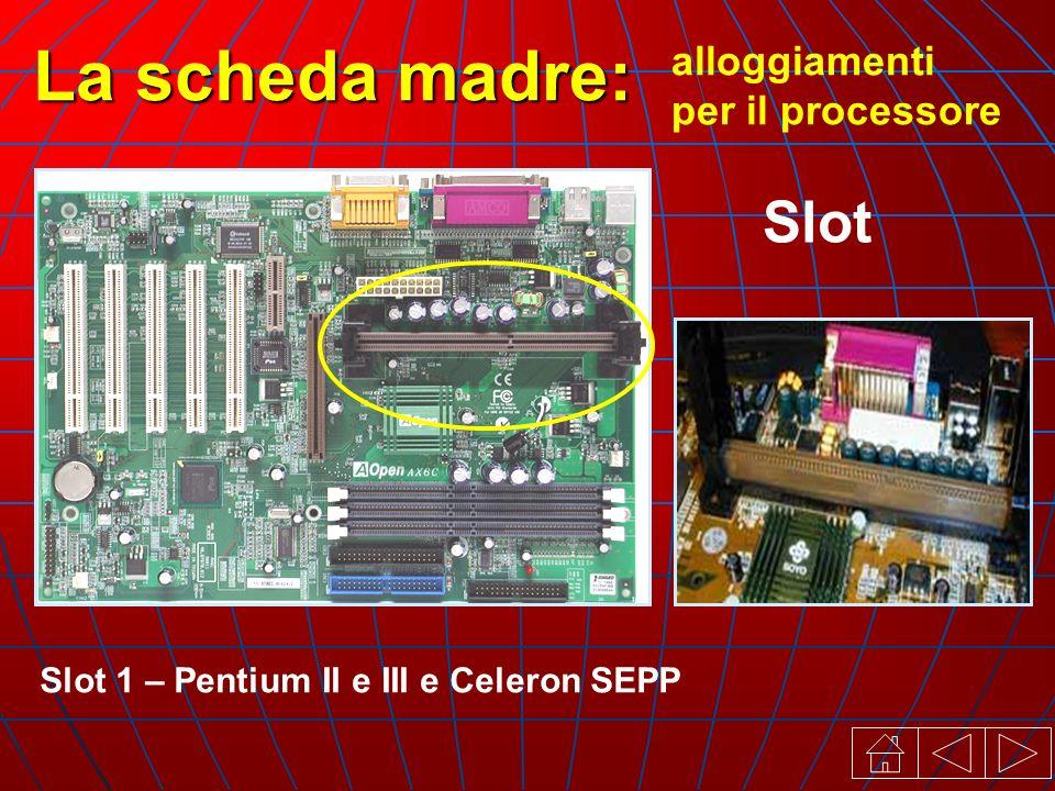 Slot 1 – Pentium II e III e Celeron SEPP alloggiamenti per il processore La scheda madre: Slot