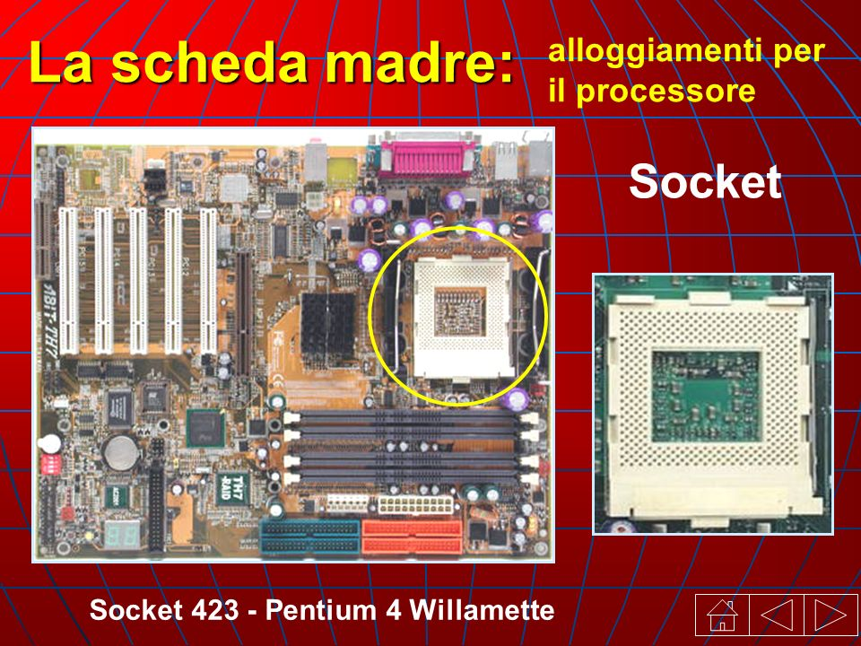 Socket 423 - Pentium 4 Willamette alloggiamenti per il processore La scheda madre: Socket