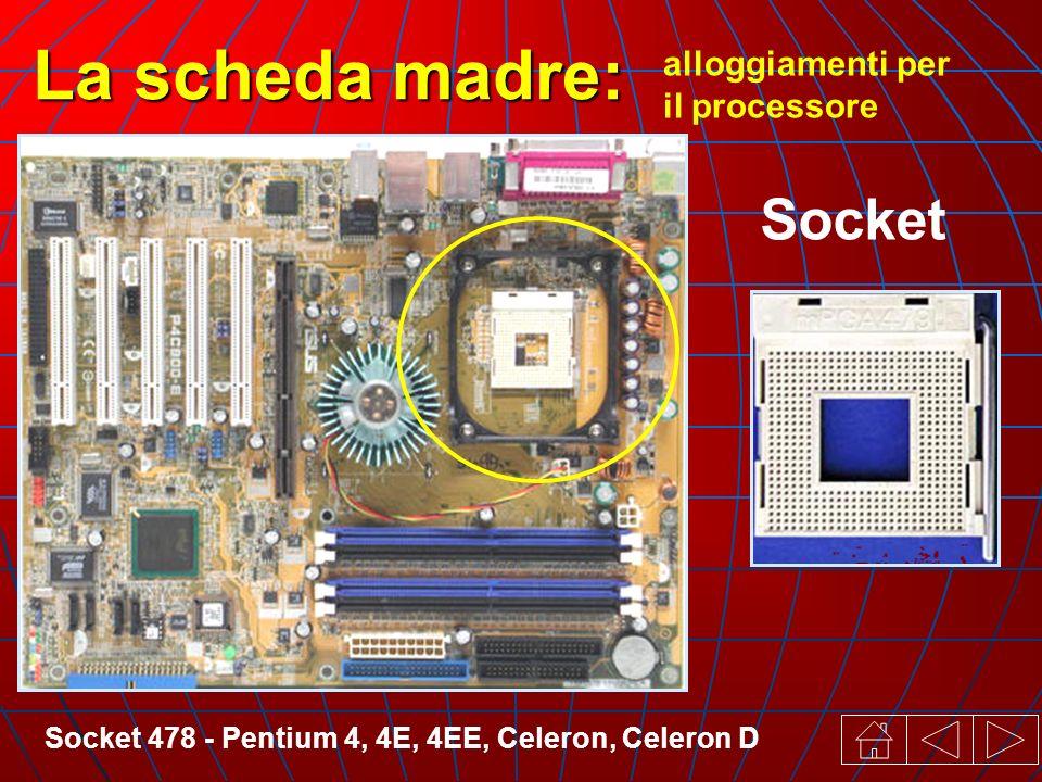 Socket 478 - Pentium 4, 4E, 4EE, Celeron, Celeron D alloggiamenti per il processore La scheda madre: Socket