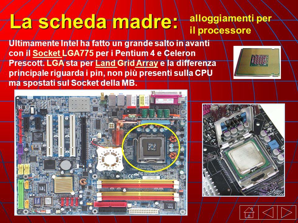 alloggiamenti per il processore La scheda madre: Ultimamente Intel ha fatto un grande salto in avanti con il Socket LGA775 per i Pentium 4 e Celeron Prescott.