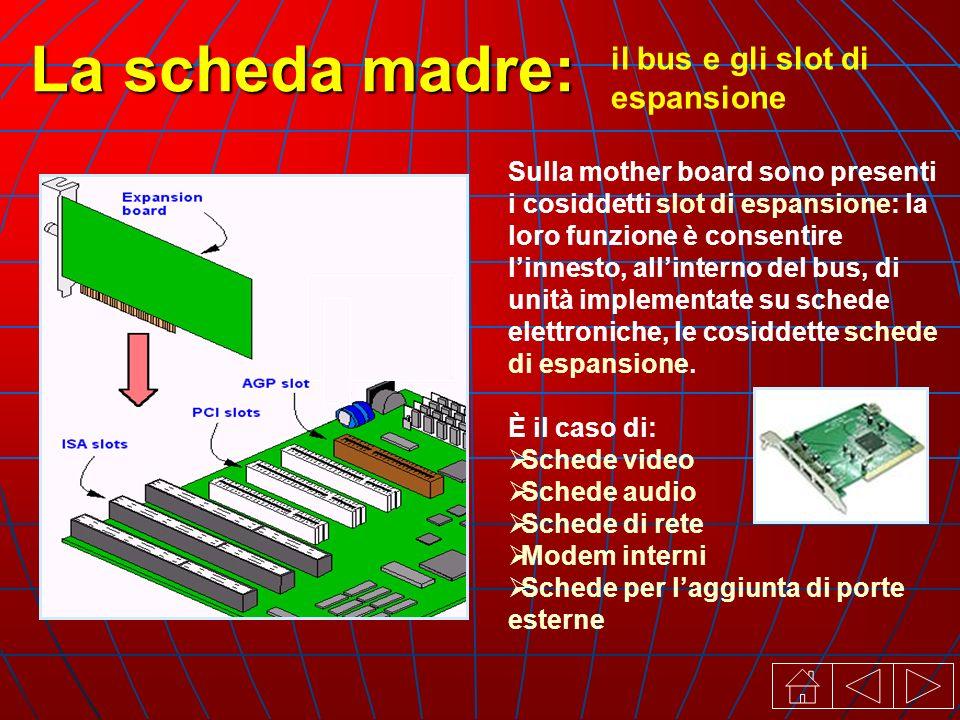 il bus e gli slot di espansione La scheda madre: Sulla mother board sono presenti i cosiddetti slot di espansione: la loro funzione è consentire linnesto, allinterno del bus, di unità implementate su schede elettroniche, le cosiddette schede di espansione.