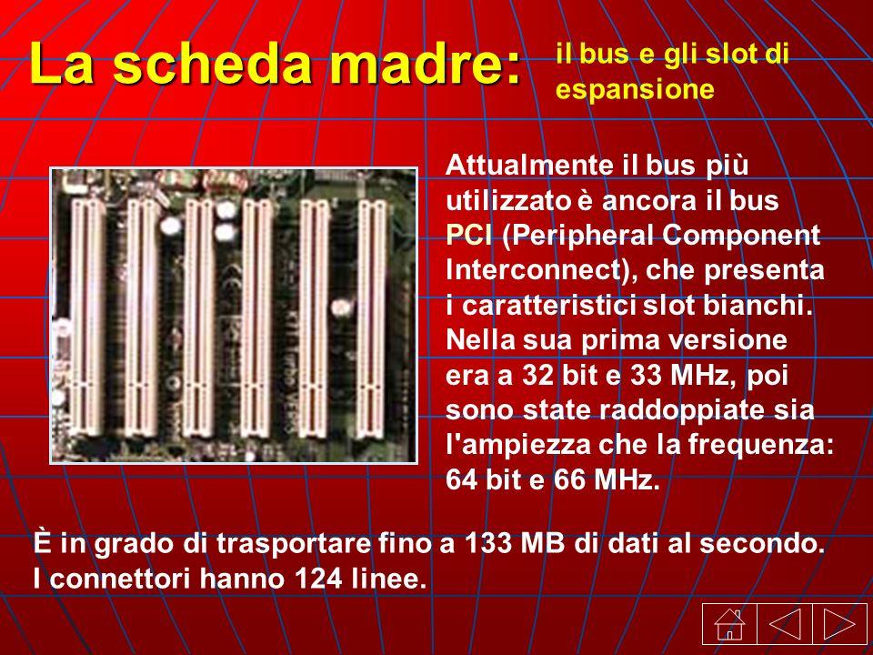 il bus e gli slot di espansione La scheda madre: Attualmente il bus più utilizzato è ancora il bus PCI (Peripheral Component lnterconnect), che presenta i caratteristici slot bianchi.