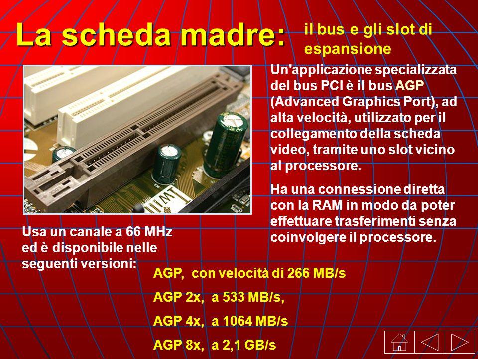 il bus e gli slot di espansione La scheda madre: Un applicazione specializzata del bus PCI è il bus AGP (Advanced Graphics Port), ad alta velocità, utilizzato per il collegamento della scheda video, tramite uno slot vicino al processore.