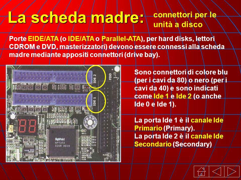 connettori per le unità a disco La scheda madre: Porte EIDE/ATA (o IDE/ATA o ParalleI-ATA), per hard disks, lettori CDROM e DVD, masterizzatori) devono essere connessi alla scheda madre mediante appositi connettori (drive bay).