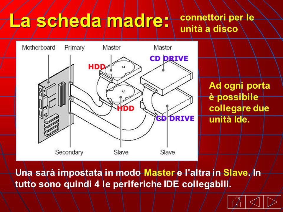 connettori per le unità a disco La scheda madre: Una sarà impostata in modo Master e l altra in Slave.