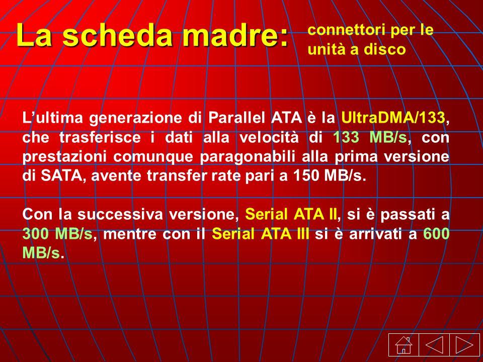 connettori per le unità a disco La scheda madre: Lultima generazione di Parallel ATA è la UltraDMA/133, che trasferisce i dati alla velocità di 133 MB/s, con prestazioni comunque paragonabili alla prima versione di SATA, avente transfer rate pari a 150 MB/s.