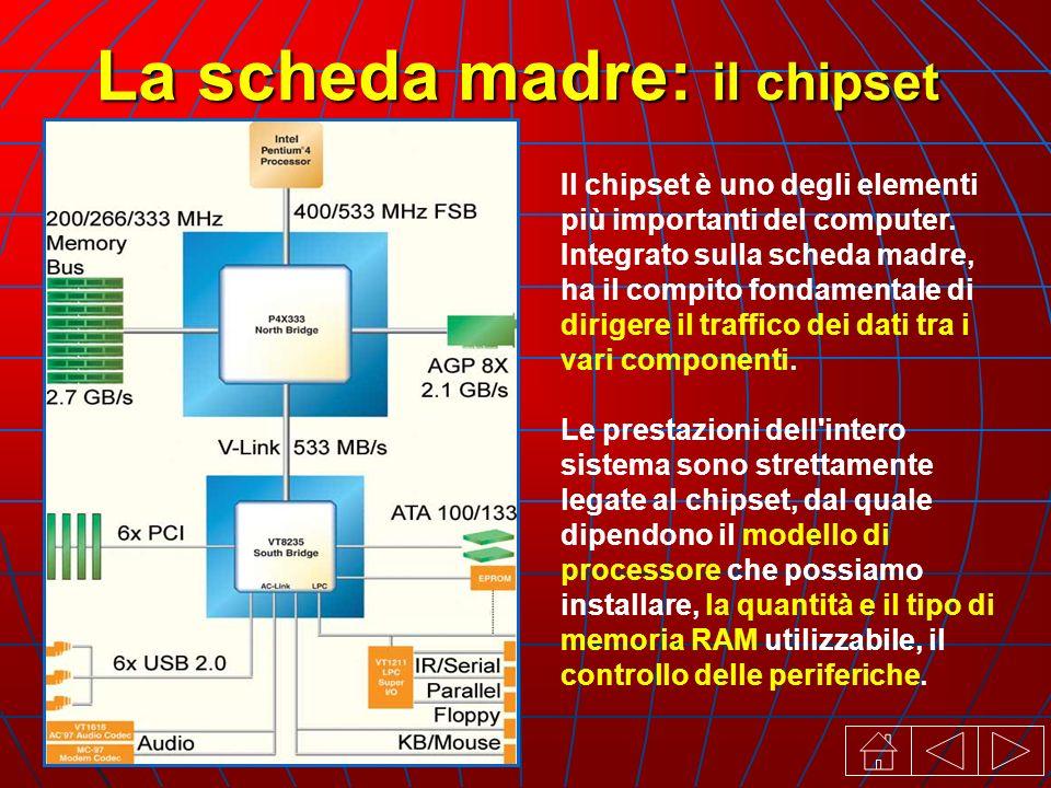 La scheda madre: il chipset Il chipset è uno degli elementi più importanti del computer.