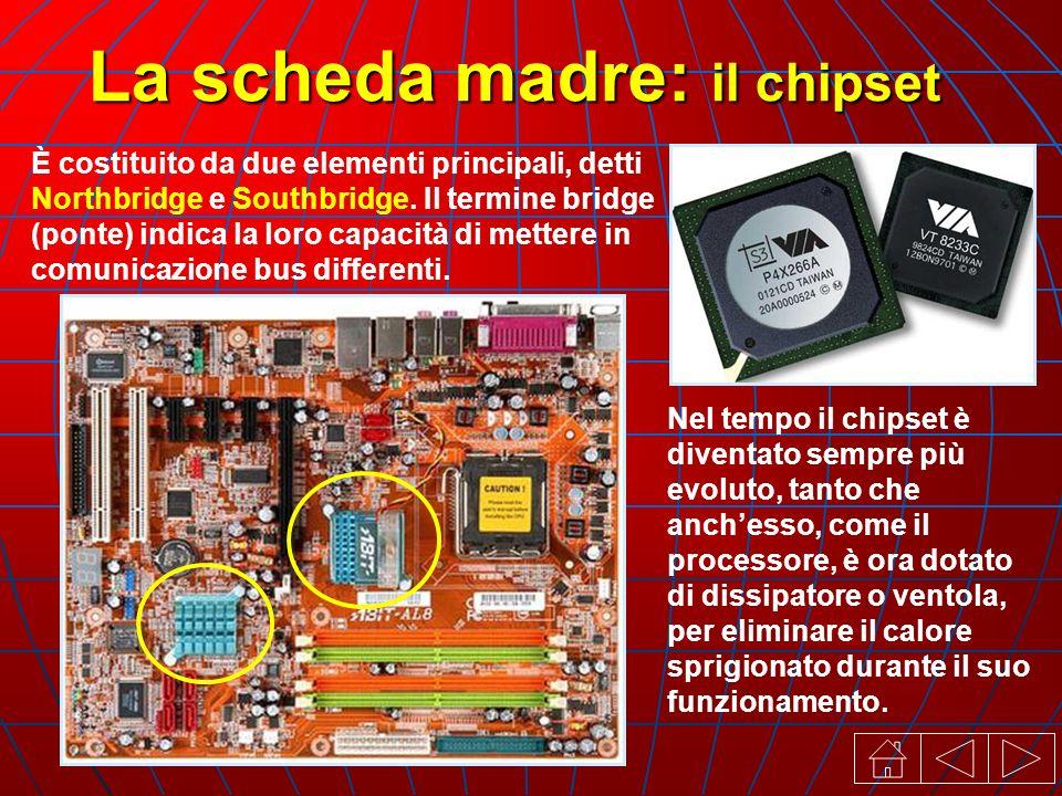 La scheda madre: il chipset È costituito da due elementi principali, detti Northbridge e Southbridge.