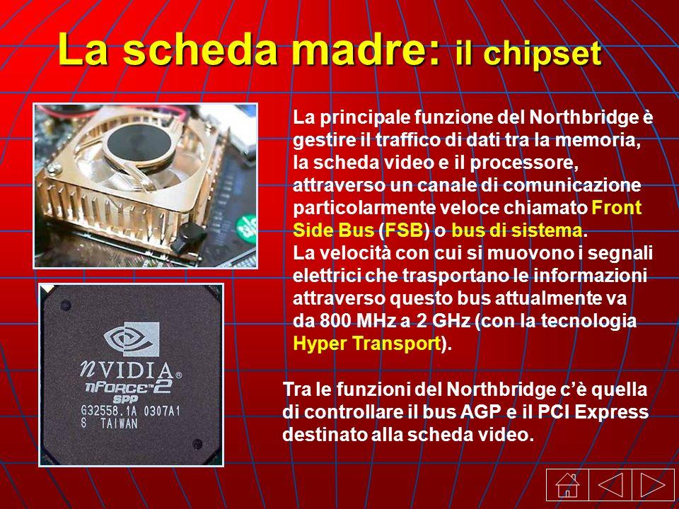 La scheda madre: il chipset La principale funzione del Northbridge è gestire il traffico di dati tra la memoria, la scheda video e il processore, attraverso un canale di comunicazione particolarmente veloce chiamato Front Side Bus (FSB) o bus di sistema.