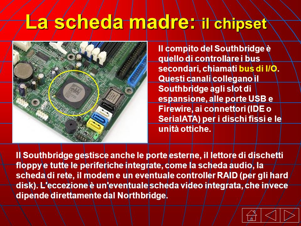 La scheda madre: il chipset Il compito del Southbridge è quello di controllare i bus secondari, chiamati bus di I/O.