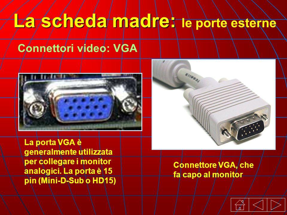 Connettori video: VGA La porta VGA è generalmente utilizzata per collegare i monitor analogici.