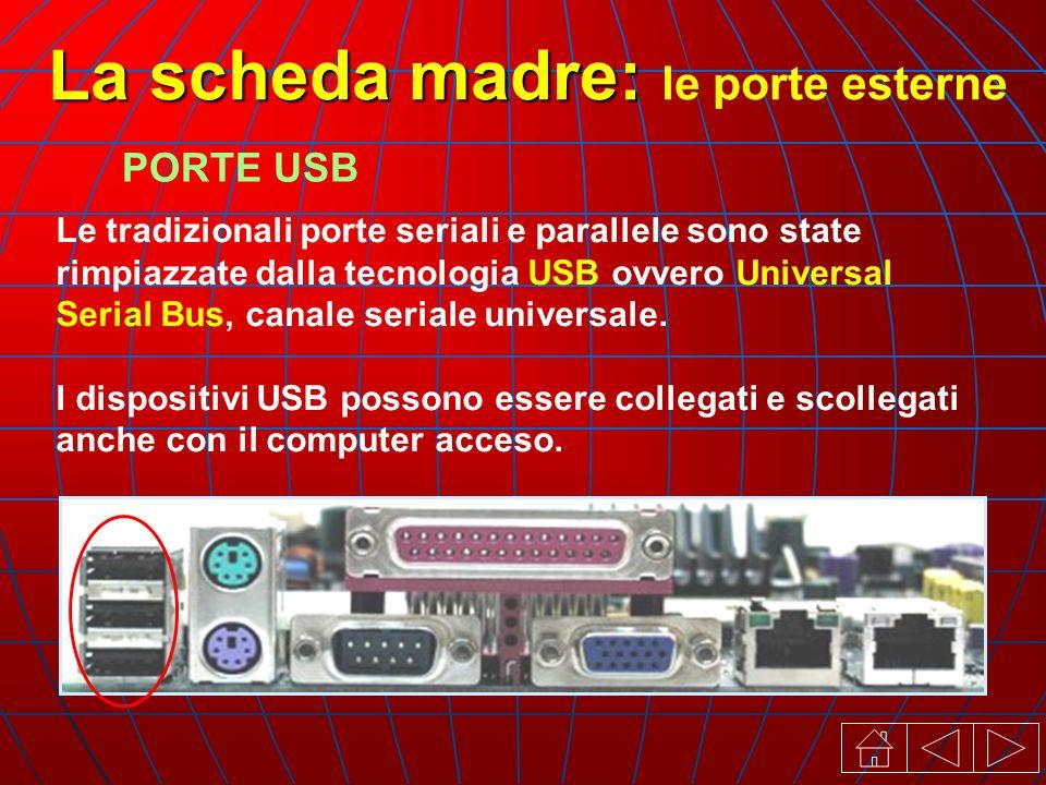 PORTE USB Le tradizionali porte seriali e parallele sono state rimpiazzate dalla tecnologia USB ovvero Universal Serial Bus, canale seriale universale.