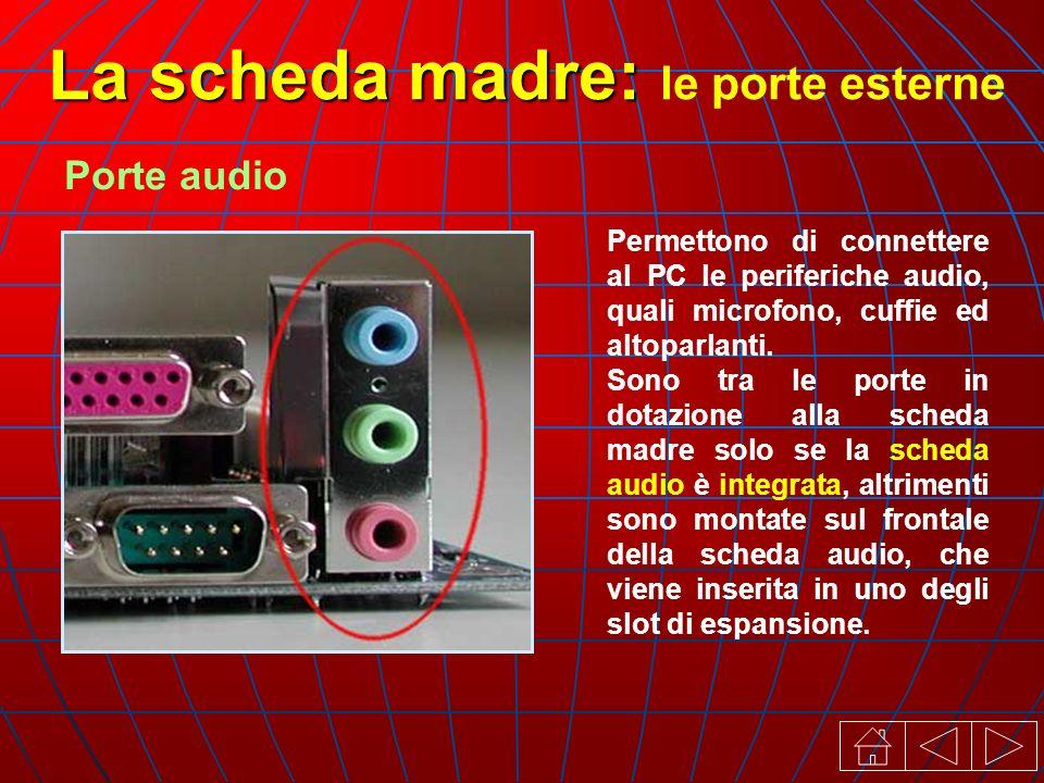 La scheda madre: La scheda madre: le porte esterne Porte audio Permettono di connettere al PC le periferiche audio, quali microfono, cuffie ed altoparlanti.
