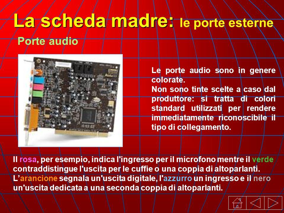 La scheda madre: La scheda madre: le porte esterne Porte audio Le porte audio sono in genere colorate.