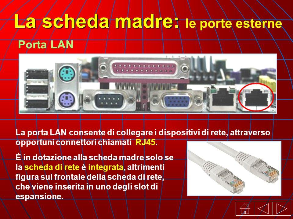 La porta LAN consente di collegare i dispositivi di rete, attraverso opportuni connettori chiamati RJ45.