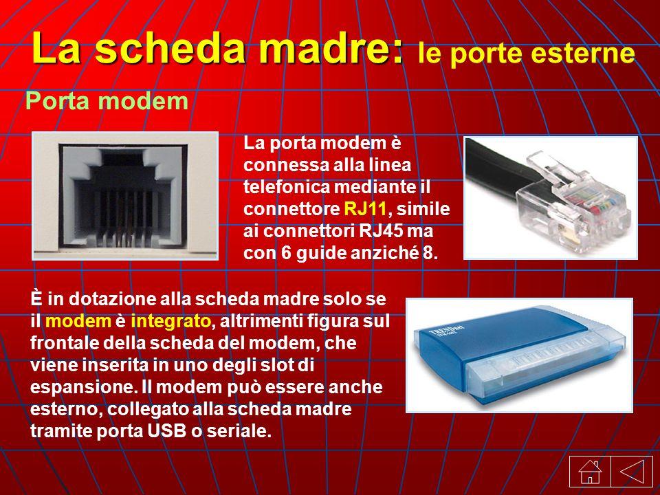 La porta modem è connessa alla linea telefonica mediante il connettore RJ11, simile ai connettori RJ45 ma con 6 guide anziché 8.